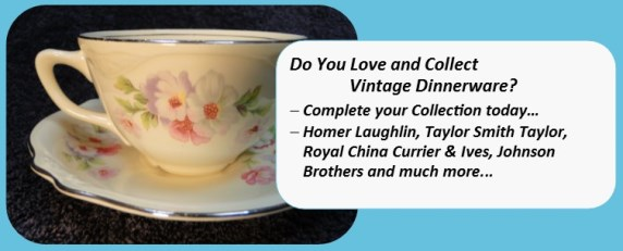 Vintage Dinnerware Collectible Tableware Replacements
